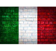 Italy flag painted on old brick wall texture background Photographic Print