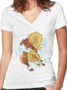 Hound of fire Women's Fitted V-Neck T-Shirt