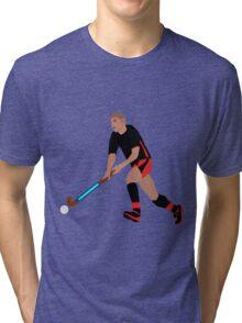 Male Field Hockey Player Tri-blend T-Shirt