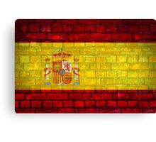 Spain flag painted on a brick wall in an urban location Canvas Print