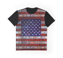 USA flag on old brick wall texture background Graphic T-Shirt