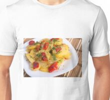 Top view of the vegetarian dish of organic potatoes Unisex T-Shirt