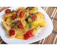 Top view of the vegetarian dish of organic potatoes Photographic Print