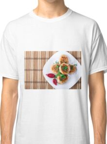 Top view of the fried meatballs of minced chicken Classic T-Shirt