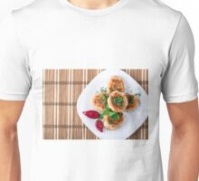 Top view of the fried meatballs of minced chicken Unisex T-Shirt