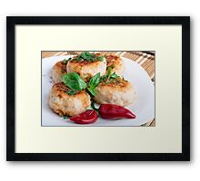 Closeup view on fried meatballs of minced chicken Framed Print