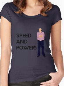 """Jeremy Clarkson """"Speed and power!"""" original design Women's Fitted Scoop T-Shirt"""