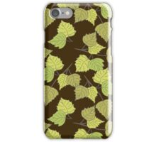Birch leaves brown background iPhone Case/Skin