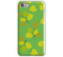 Birch leaves green background iPhone Case/Skin