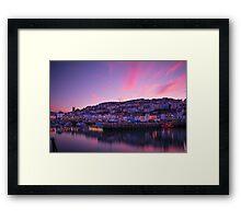 Brixham Harbour (UK) at Sunset Framed Print