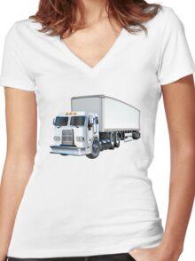 Cartoon Semi Truck Women's Fitted V-Neck T-Shirt