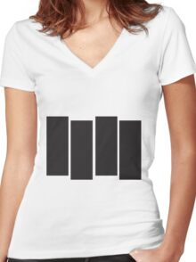 Black Flag Logo Bars Only Women's Fitted V-Neck T-Shirt