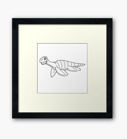Black and white plesiosaur Framed Print