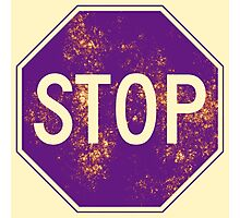 Stop Sign, Beige Photographic Print