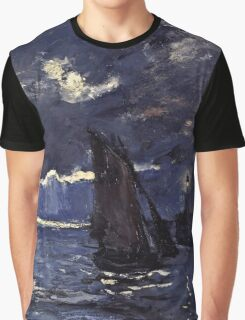 Claude Monet - A Seascape, Shipping by Moonlight (1864)  Graphic T-Shirt