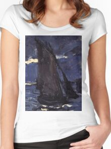Claude Monet - A Seascape, Shipping by Moonlight (1864)  Women's Fitted Scoop T-Shirt