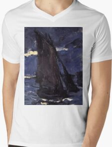Claude Monet - A Seascape, Shipping by Moonlight (1864)  Mens V-Neck T-Shirt