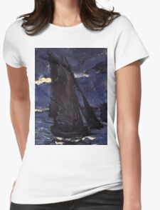Claude Monet - A Seascape, Shipping by Moonlight (1864)  Womens Fitted T-Shirt