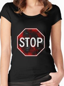 Stop Sign, Red and Black Women's Fitted Scoop T-Shirt