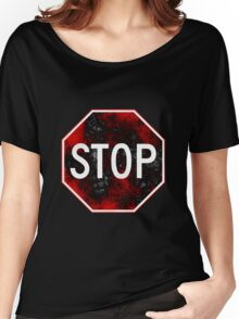 Stop Sign, Red and Black Women's Relaxed Fit T-Shirt