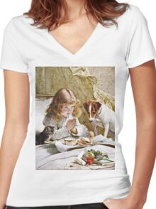 Charles Burton Barber - Suspense  Women's Fitted V-Neck T-Shirt