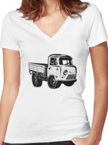 Cartoon delivery cargo pickup Women's Fitted V-Neck T-Shirt
