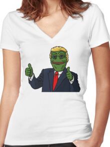 Trump Pepe Women's Fitted V-Neck T-Shirt
