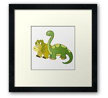 Brachiosaurus and Triceratops Framed Print