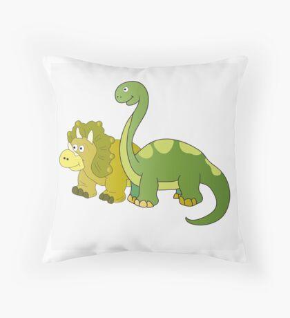 Brachiosaurus and Triceratops Throw Pillow