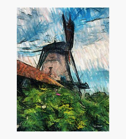 sketching windmill Photographic Print