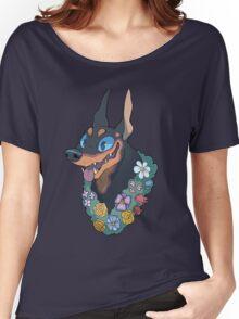 Doberman Flowers Women's Relaxed Fit T-Shirt