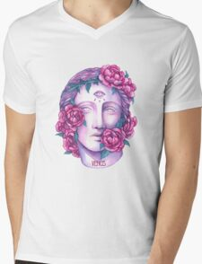 Venus Head With Flowers Mens V-Neck T-Shirt