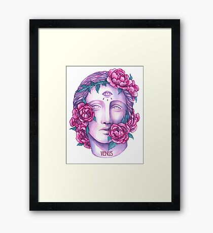 Venus Head With Flowers Framed Print