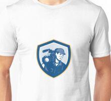 Cameraman Film Crew HD Camera Video Shield Retro Unisex T-Shirt