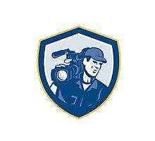 Cameraman Film Crew HD Camera Video Shield Retro Photographic Print