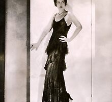 1920s Flapper Glamor Girl in a Black Lace Dress by LouiseK