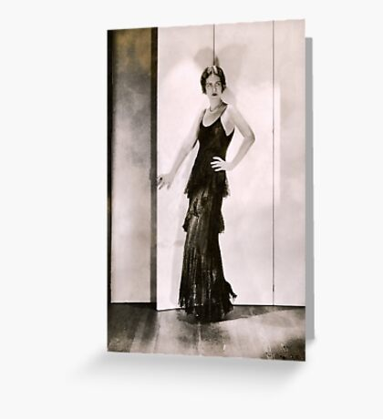 1920s Flapper Glamor Girl in a Black Lace Dress Greeting Card