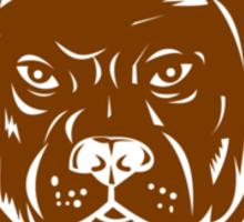 Pitbull Dog Mongrel Head Circle Woodcut Sticker