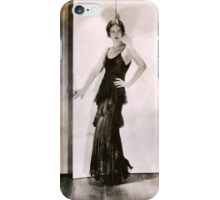 1920s Flapper Glamor Girl in a Black Lace Dress iPhone Case/Skin