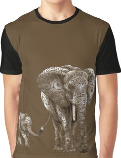Swirly Elephant Family Graphic T-Shirt