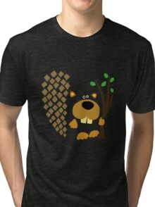Cute Funky Beaver Abstract Art Original Tri-blend T-Shirt