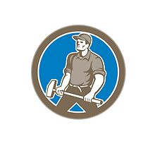 Union Worker With Sledgehammer Circle Retro by patrimonio