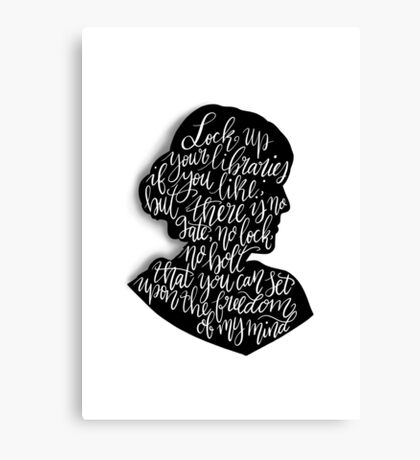 Virginia Woolf Quote and Silloette  Canvas Print