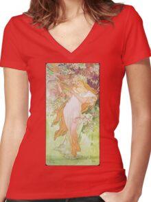 Alphonse Mucha - Printempsspring 2 Women's Fitted V-Neck T-Shirt