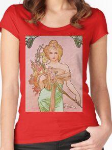 Alphonse Mucha - Printempsspring Women's Fitted Scoop T-Shirt
