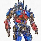 Transformers Optimus Prime Or Orion Pax Colored Pencil by Edward Fielding
