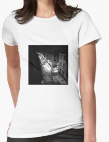 Night street scene in Baixa Lisbon Portugal Womens Fitted T-Shirt