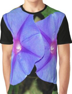 Vivid Blue, Purple and Pink Ipomoea Flowers Graphic T-Shirt
