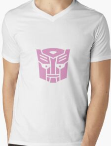 Transformers, Ditto In Disguise Pink Logo Mens V-Neck T-Shirt