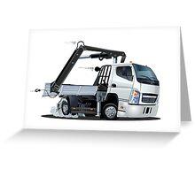Cartoon Lkw Truck with Crane Greeting Card